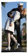Kissing Sailor - The Kiss - Sarasota Bath Towel