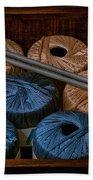 Knitting Yarn In A Wooden Box Bath Towel