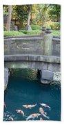 Koi Pond In Senso-ji Temple Grounds Bath Towel