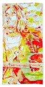 Kurt Cobain Live Concert - Watercolor Portrait Bath Towel