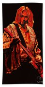 Kurt Cobain Painting Bath Towel by Paul Meijering