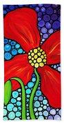 Lady In Red - Poppy Flower Art By Sharon Cummings Bath Towel