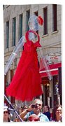 Lady In Red Watching Filming Of Today Show In Old Montreal-qc Bath Towel