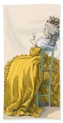 Lady Reclines On Chair Drinking Bath Towel