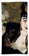 Lady With Fan Portrait Of Marie Anne De Callias Known As Nina De Callias Bath Towel