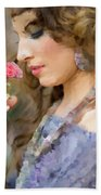 Lady With Pink Rose Hand Towel