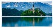 Lake Bled Island Church Bath Towel