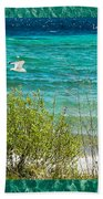 Lake Michigan Seagull In Flight Bath Towel