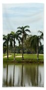 Lake Sand Traps Palm Trees And Golf Course Singapore Bath Towel