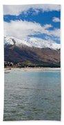 Lake Wakatipu And Snowy New Zealand Mountain Peaks Bath Towel