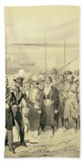 Landing Of A Military Leader Hand Towel