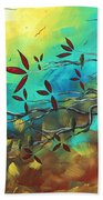 Landscape Bird Original Painting Family Time By Madart Bath Towel