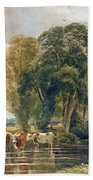 Landscape Cattle In A Stream With Sluice Gate Hand Towel