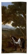 Landscape With Hermit Preaching To Animals Bath Towel