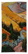 Landscape With House And Ploughman Bath Towel