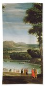 Landscape With St. John Baptising Bath Towel