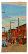 Landsdowne Condos 5th Avenue The Glebe Ottawa Street Scene Paintings Carole Spandau Canadian Art Bath Towel