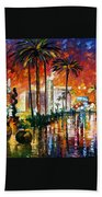 Las Vegas - Palette Knife Oil Painting On Canvas By Leonid Afremov Bath Towel
