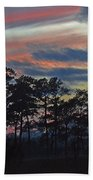 Late Sunset Trees In The Mist Bath Towel