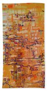 Lattice Animals Abstract Oil Painting By Regina Valluzzi Bath Towel
