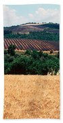 Lavender And Corn Fields In Summer Bath Towel