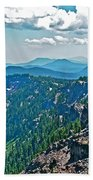Layers Of Mountains From Watchman Overlook In Crater Lake National Park-oregon  Bath Towel
