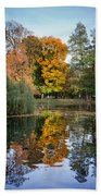 Lazienki Park Autumn Scenery In Warsaw Bath Towel
