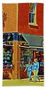 Le Fouvrac Foods Chocolates And Coffee Shop Corner Garnier And Laurier Montreal Street Scene Hand Towel