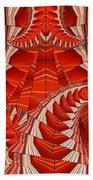 Leaf Pattern In Red Bath Towel