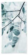Leaves In Dusty Blue Bath Towel by Priska Wettstein