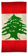 Lebanon Flag Vintage Distressed Finish Bath Towel