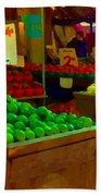 Lemons And Limes Farmers Market Food Stalls Market Vendors Vegetable Food Art Carole Spandau Bath Towel