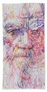 Leo Tolstoy/ Colored Pens Portrait Bath Towel