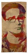 Leonard Hofstadter Watercolor Portrait Big Bang Theory On Distressed Worn Canvas Bath Towel