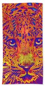 Leopard Eyes Orange Bath Towel