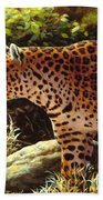 Leopard Painting - On The Prowl Bath Sheet by Crista Forest