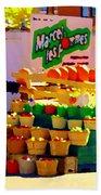 Les Pommes Fruiterie Marcel Vert Pommes Red Apples Jean Talon  Market Scenes Carole Spandau  Bath Towel