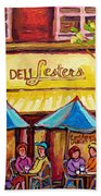 Lester's Deli Montreal Smoked Meat Paris Style French Cafe Paintings Carole Spandau Bath Towel
