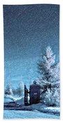 Let It Snow Blue Version Bath Towel