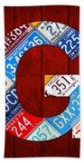 Letter G Alphabet Vintage License Plate Art Bath Towel