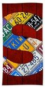 Letter S Alphabet Vintage License Plate Art Bath Towel