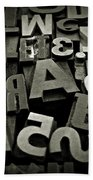 Letters And Numbers Gray Tones Bath Towel