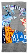 License Plate Map Of Canada On Gray Bath Towel
