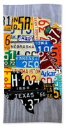 License Plate Map Of The United States - Muscle Car Era - On Silver Hand Towel by Design Turnpike