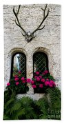 Lichtenstein Castle Windows Wall And Antlers - Germany Bath Towel