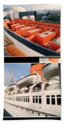 Life Boats Collage Queen Mary Ocean Liner Long Beach Ca Bath Towel