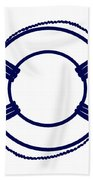 Life Preserver In Navy Blue And White Bath Towel