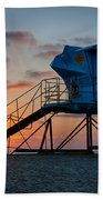 Lifeguard Tower At Sunset Bath Towel by Peter Tellone