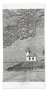 Light House On San Juan Island Lime Point Lighthouse Bath Towel
