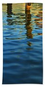 Light Reflections On The Water By A Dock At Aransas Pass Bath Towel
